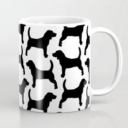 Black Beagle Silhouettes Pattern Coffee Mug