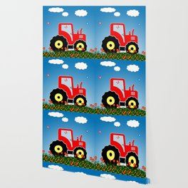 Red tractor in a field Wallpaper