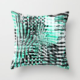 Mint Glitch Throw Pillow