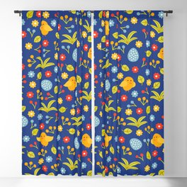 Easter Eggs and Yellow Baby Chick Pattern Blackout Curtain