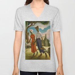 1930 Classical Masterpiece 'Romance' by Thomas Hart Benton Unisex V-Neck