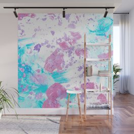 Pink and Blue Metallic Modern Abstract Wall Mural