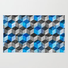 Cubes of Gray And Blue Rug