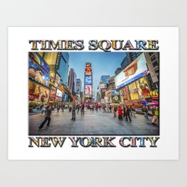 Times Square Sparkle (with typography) Art Print