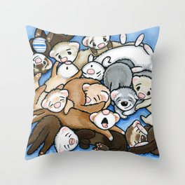 Wall to Wall Weasels Throw Pillow
