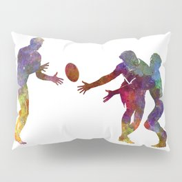 Rugby men players 02 in watercolor Pillow Sham