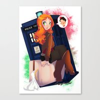 amy pond Canvas Prints featuring Doctor Who - Amy Pond by Lucy Fidelis