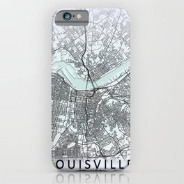 Louisville, KY, USA, White, City, Map iPhone Case