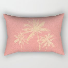 Coral Croc and Palm Trees Beach Chic Rectangular Pillow