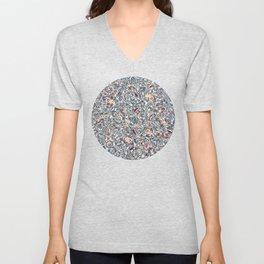 Navy Garden - floral doodle pattern in cream, dark red & blue Unisex V-Neck