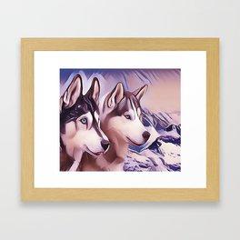 A Pair of Siberian Huskys Framed Art Print