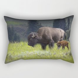 American Buffalo Bison Mother and Calf in Yellowstone National Park Rectangular Pillow