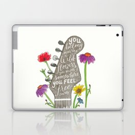 You belong among the wildflowers. Tom Petty quote. Watercolor guitar illustration. Hand lettering. Laptop & iPad Skin