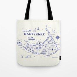 Nantucket Map Tote Bag