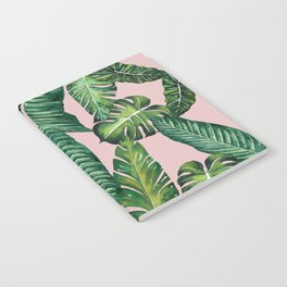 Jungle Leaves, Banana, Monstera II Pink #society6 Notebook