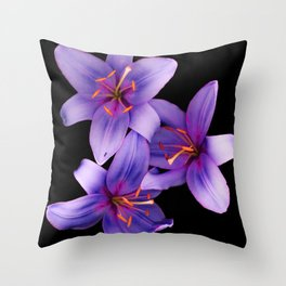 Beautiful Blue Ant Lilies, Flowers Scanography Throw Pillow