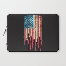 Distressed United States of America USA Flag Grunge Guns Laptop Sleeve