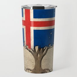 Vintage Tree of Life with Flag of Iceland Travel Mug