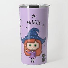 Pixel Witch (Pixel Art/Purple) Travel Mug