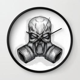 skull in gas mask Wall Clock