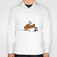 hobbes Hoodies featuring Calvin & Hobbes Winter by rarcomeus
