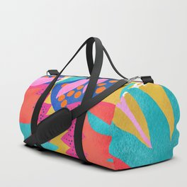 Bold Flower Pattern Yellow Background Duffle Bag