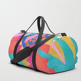 Bold Flower Pattern Yellow Background Duffle Bag