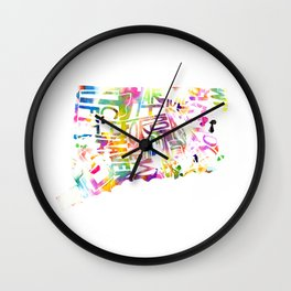 Typographic Connecticut - multi rainbow watercolor map Wall Clock