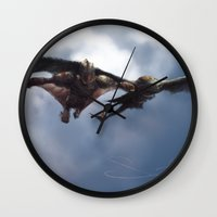 hiccup Wall Clocks featuring Flight by samanthadoodles