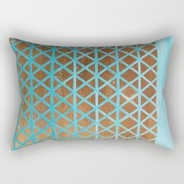 Turquoise, Triangles Gold Rectangular Pillow