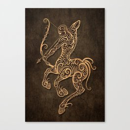 Vintage Rustic Sagittarius Zodiac Sign Canvas Print