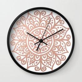 Rose Gold Floral Mandala Wall Clock