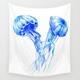 JellyFish, Blue Aquatic Artwork Wall Tapestry