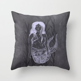 Chalky Mermaid Throw Pillow