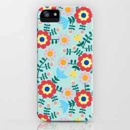 Folk Floral (blue) iPhone Case