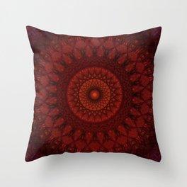 Dark and light red mandala Throw Pillow