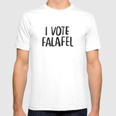 I Vote Falafel MEDIUM White Mens Fitted Tee