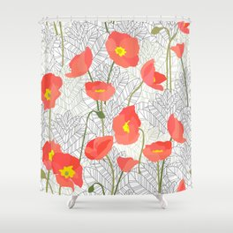 Sketchy Poppies Shower Curtain