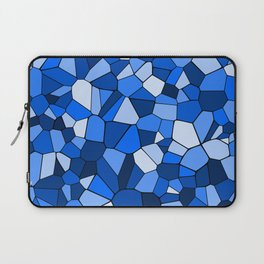 Blue Monochrome Geometric Mosaic Pattern Laptop Sleeve