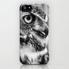 Bird Photography | Owl Black and White Minimalism | Wildlife | By Magda Opoka iPhone Case