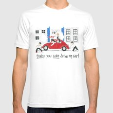 Les Petits - Baby You Can Drive My Car White Mens Fitted Tee MEDIUM