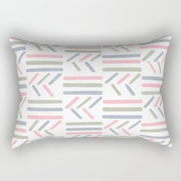 Linear Trouble // Basket Weave design in pastel colours, pink, white, grey, olive Rectangular Pillow
