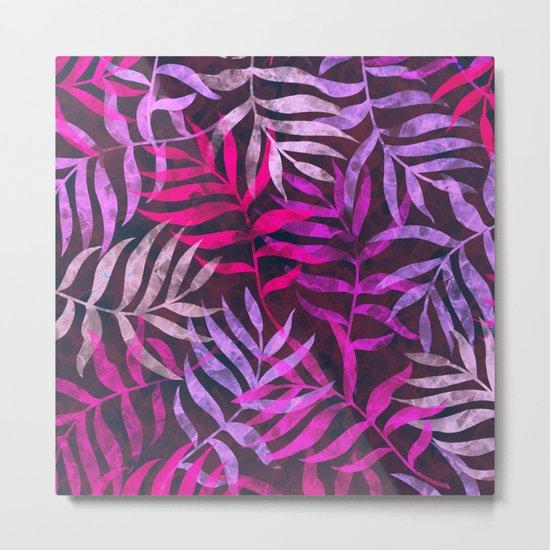 Watercolor Tropical Palm Leaves VI Metal Print