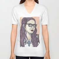 alex vause V-neck T-shirts featuring Vause OITNB by Ashley Rowe