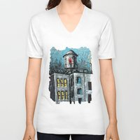 oil V-neck T-shirts featuring Oil Tower by creativebloch.com