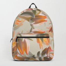 Orange Succulent Flowers Pastel Green Background #decor #society6 #buyart Backpack