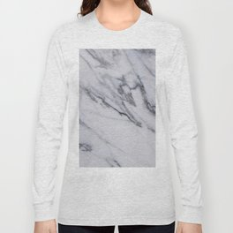 Marble - Black and White Gray Swirled Marble Design Long Sleeve T-shirt