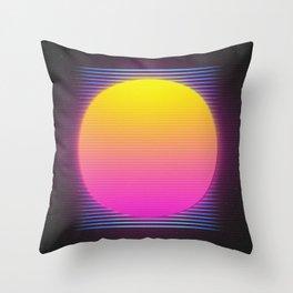 Retro 80's Neon Sunrise Throw Pillow
