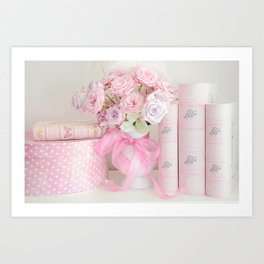 Pink Books and Roses Art Print