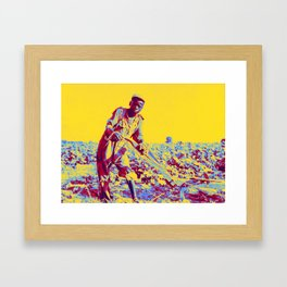 1937 Rural Georgia Sharecropper's 13 year old son, Georgia, 1937.  by Dorothea Lange Neon art by Ahm Framed Art Print